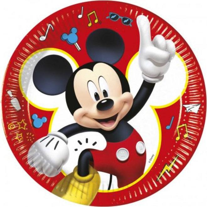 8 Kartonnen Mickey Mouse Bordjes - Disney - Rood
