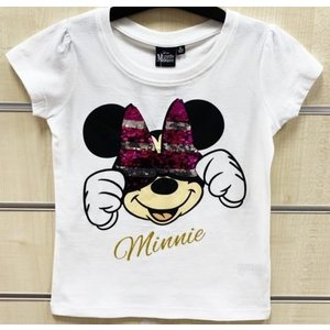 Minnie Mouse Minnie Mouse Paillettten T-Shirt - Wit