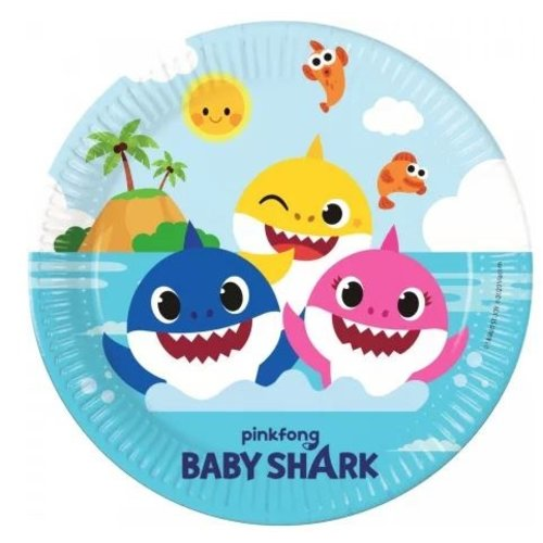Baby Shark Baby Shark Feestbordjes - 8 stuks