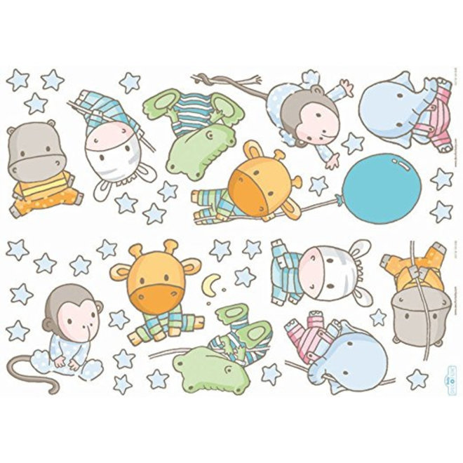 42 Muurstickers Baby Zoo - Decofun