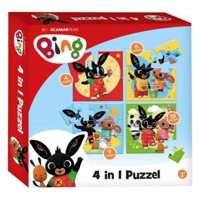 Bing Konijn 4 in 1 Puzzel - 4/6/9/16 stukjes