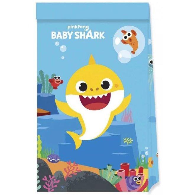 4 Baby Shark Uitdeelzakjes - Pinkfong