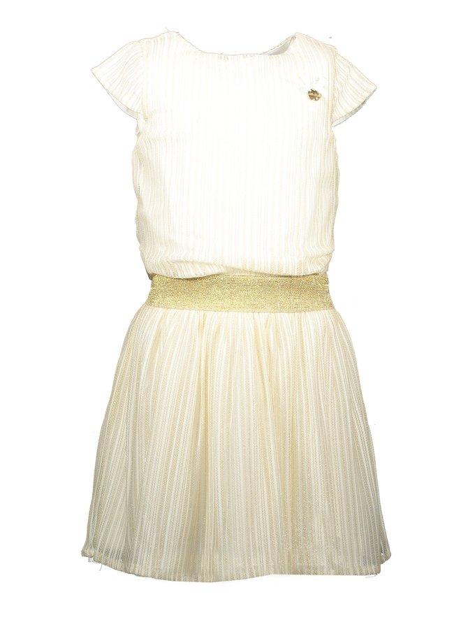 Dress Vertical Golden Stripe Off White