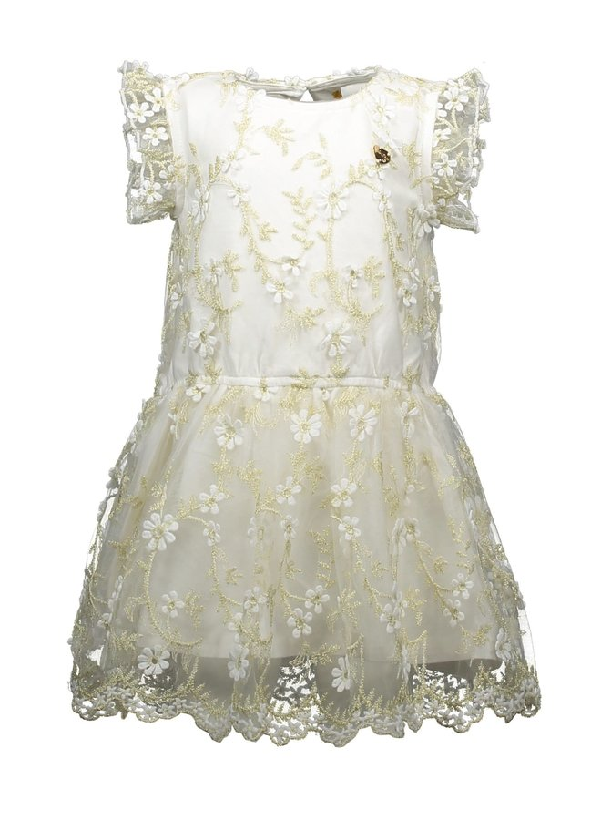 Dress Golden Leaves Off white