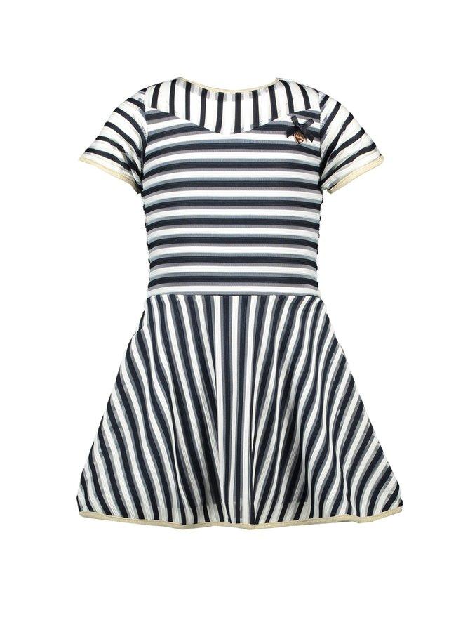 Dress 2 Coloured reliëf Stripe Blue Navy