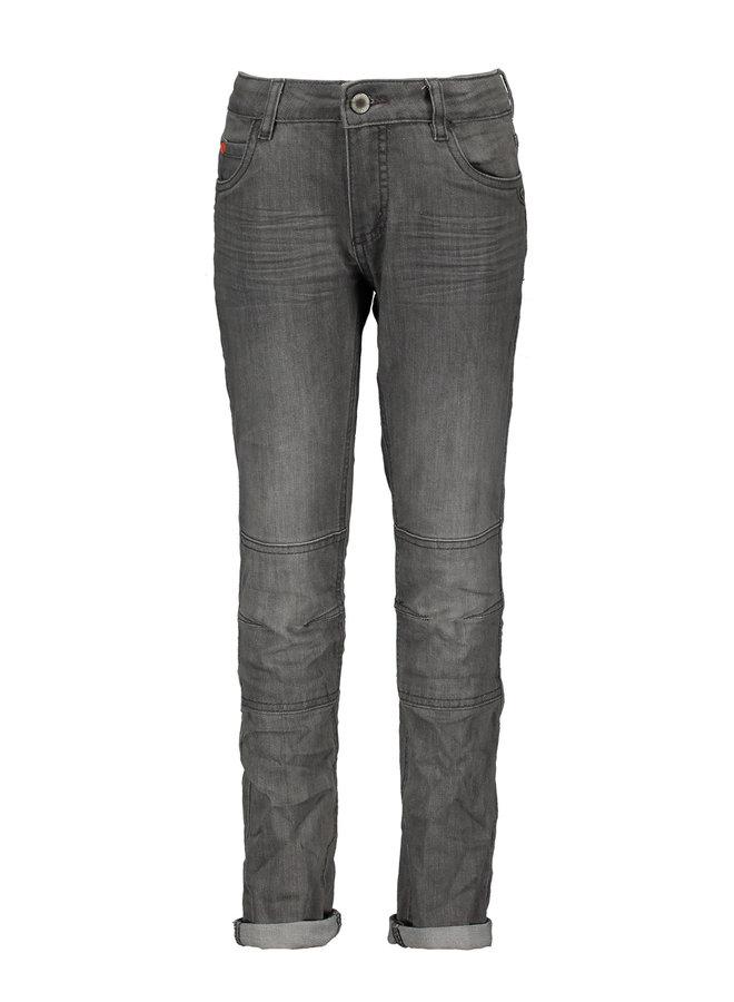 Jeans Skinny Stretch Double Kneepatches Light Grey Denim