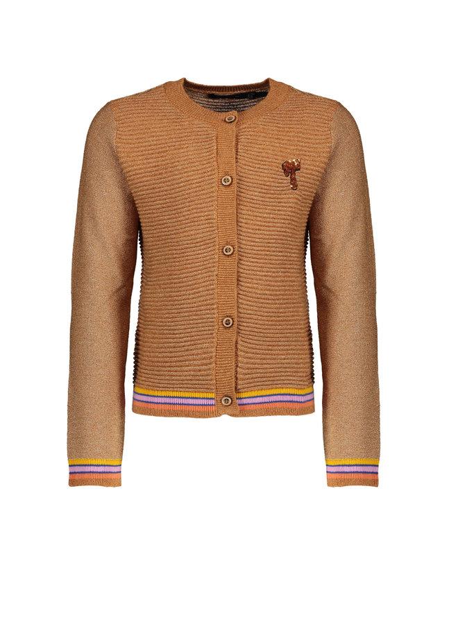 Aura lurex knitted cardigan Soft Copper