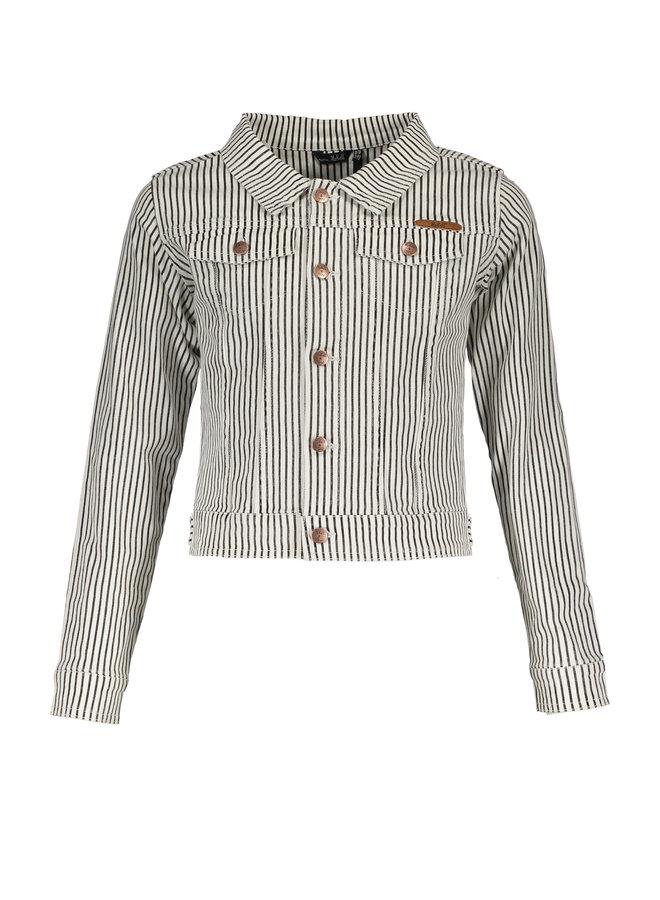 Denim Twill Stripe Short Jacket Snow White