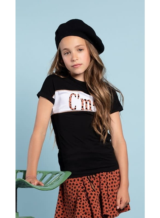 Kamy T-shirt with C'mon print Jet Black