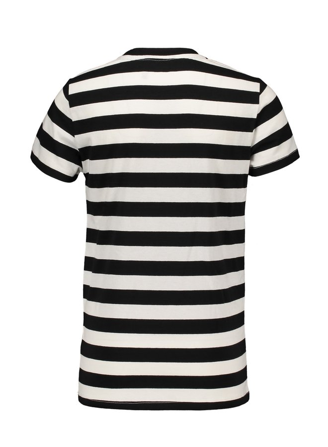 Kars Allover Stripe T-shirt Jet Black