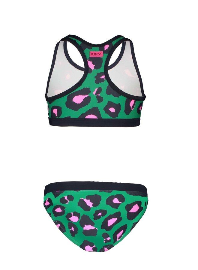 Girls Sportive Bikini with elastic Jade Leopard
