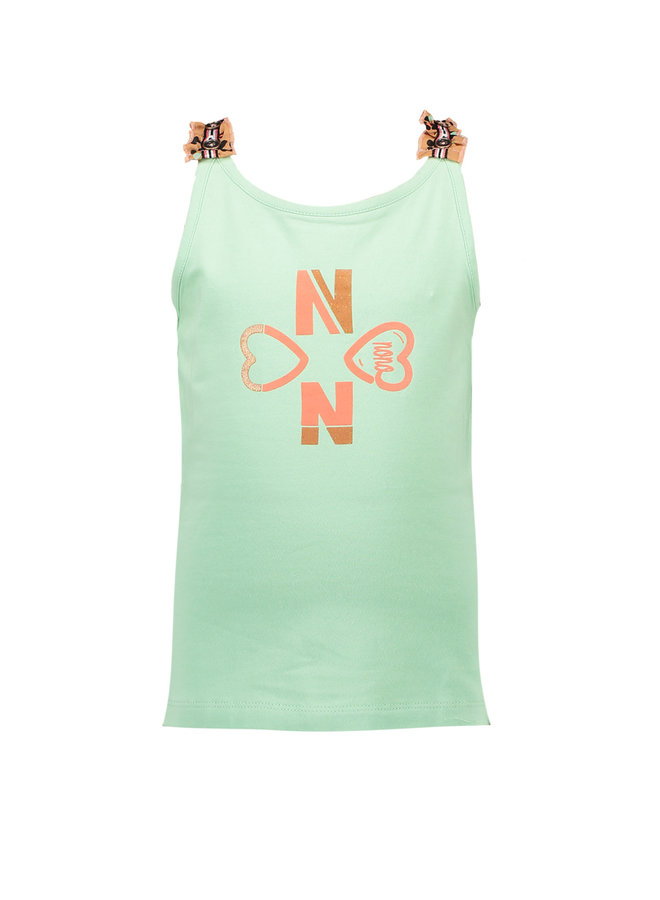Kiddy Singlet with Ruffled Straps Too Cute Mint