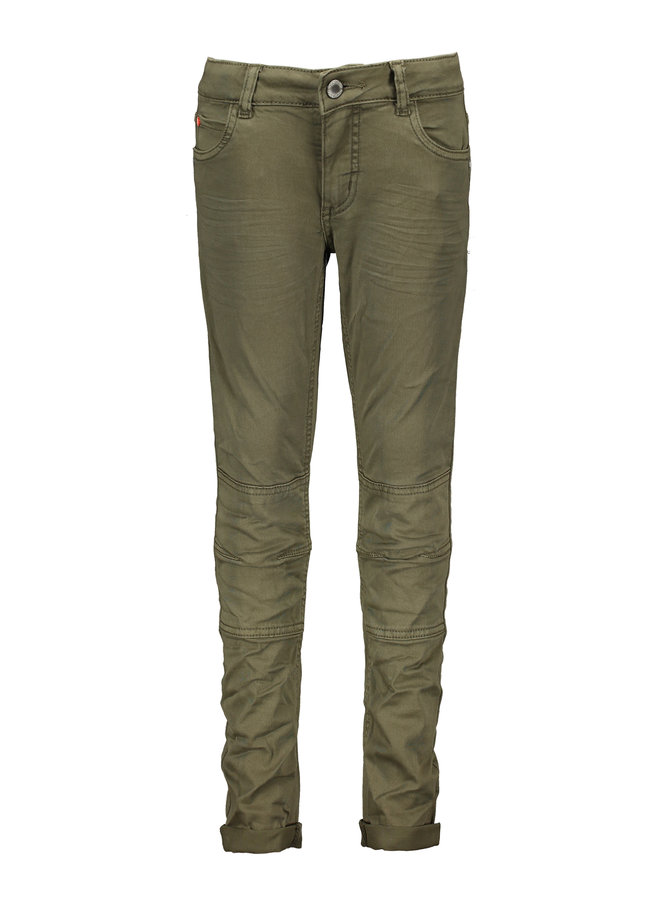 Broek Skinny Stretch Twill Double Kneepatches Army