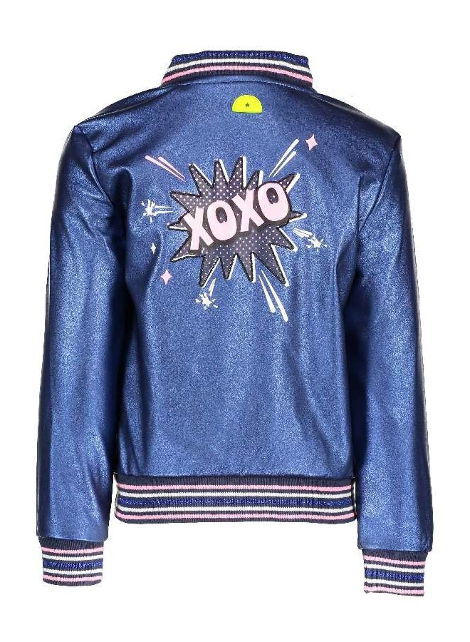 Fake Leather Jacket Metallic Royal Blue