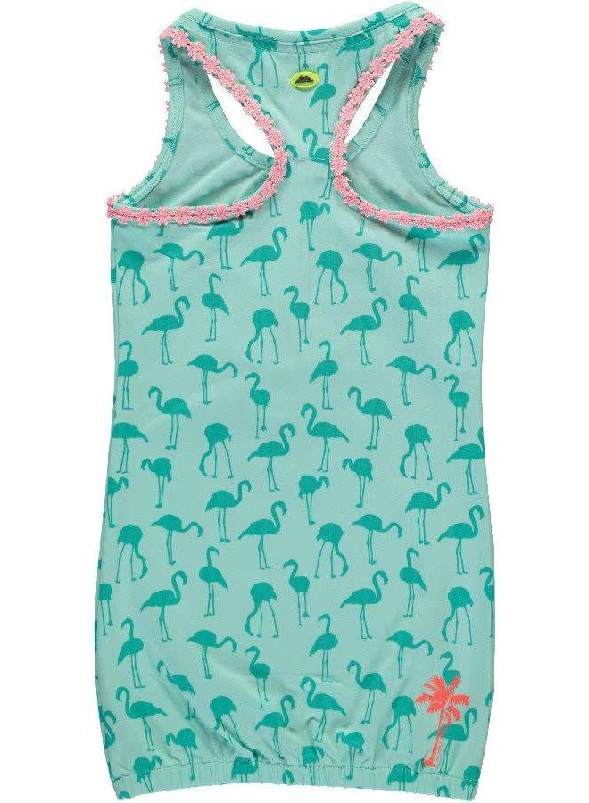Jurk Mouwloos Flamingo Mint