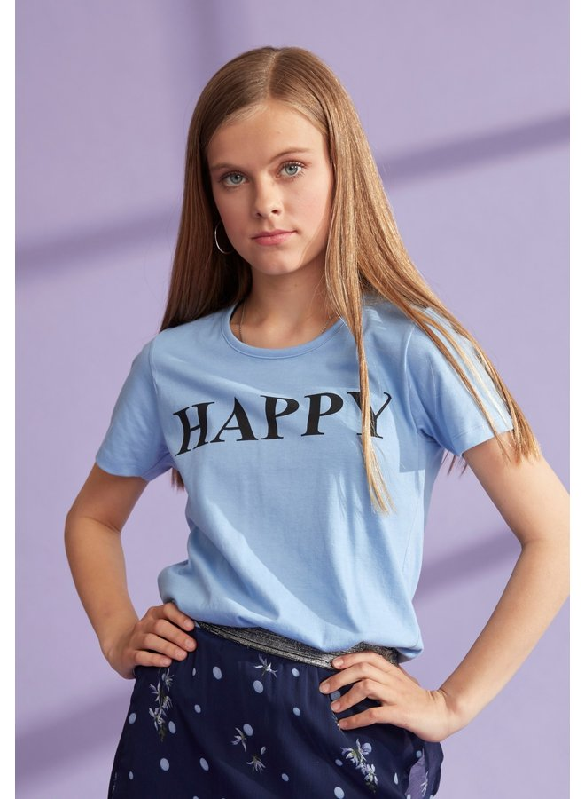 T-Shirt Happy Licht Blauw