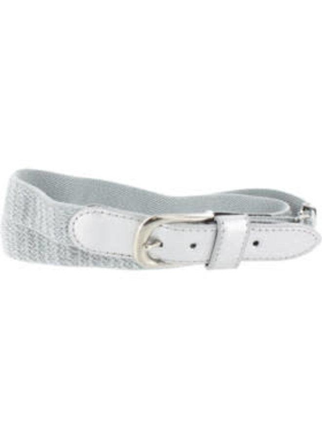 Elastische Riem Verstelbaar Wit met Zilver Lurex
