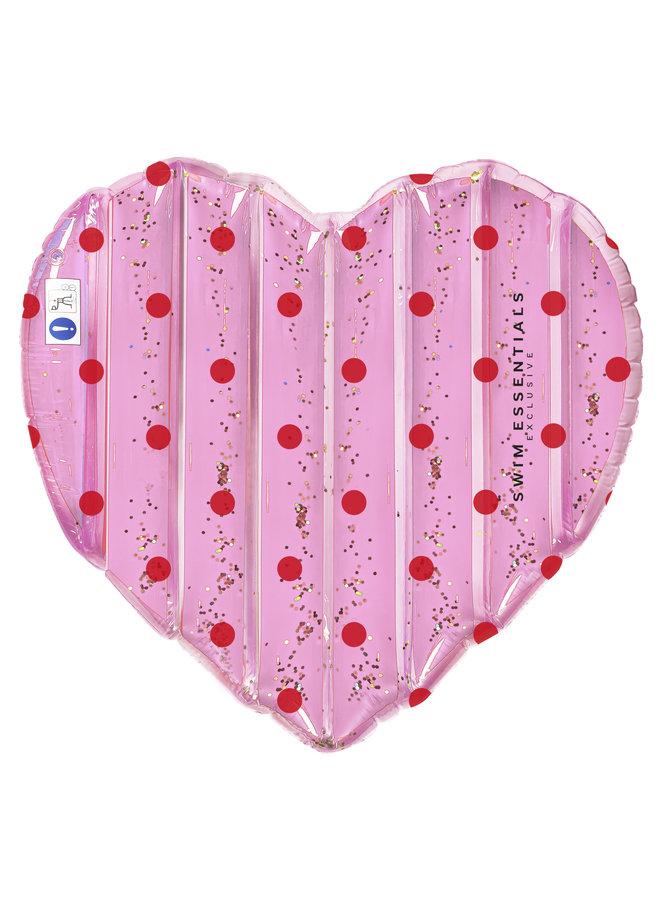 Roze Hart Glitter Luchtbed Opblaasbaar