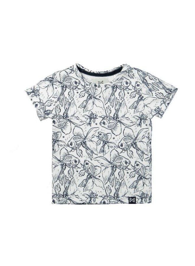 T-Shirt Vissen Wit/Marine
