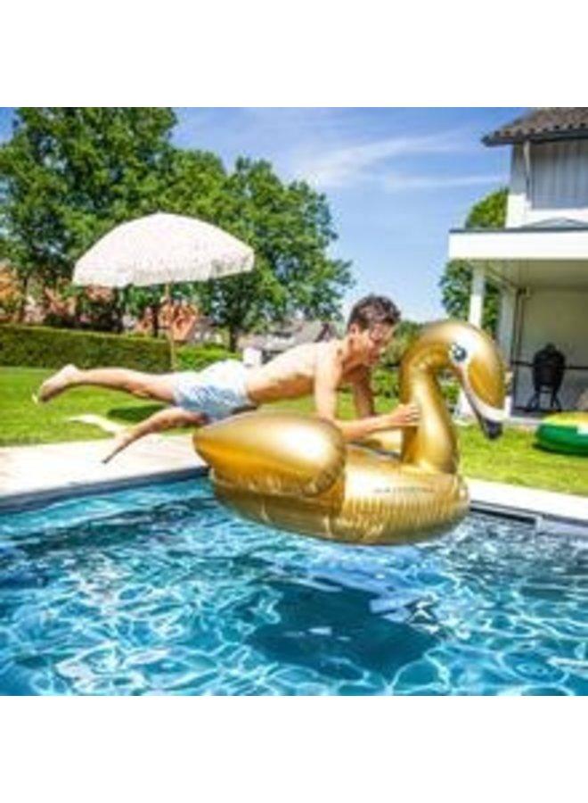 Gouden Zwaan Zwemband Opblaasbaar Groot