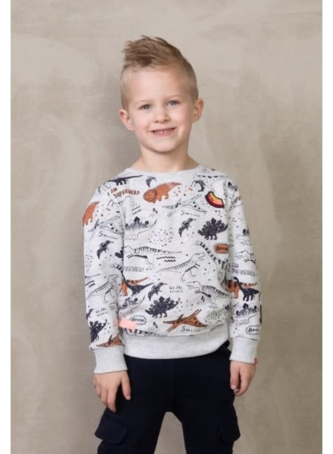 Dino-mite Sweater AOP Zand Melange