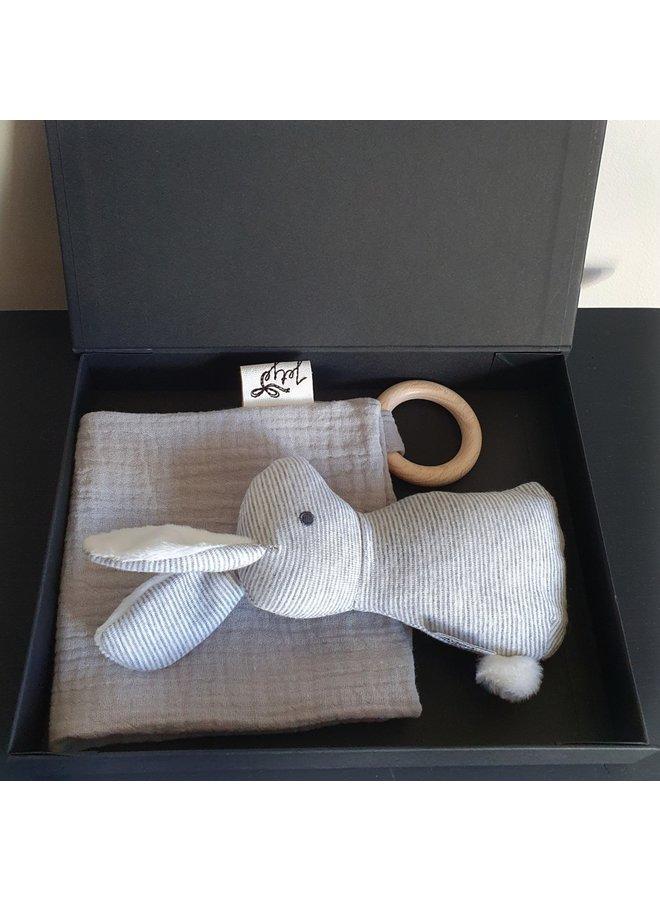 Cadeau Setje Rabbit grijs in doos