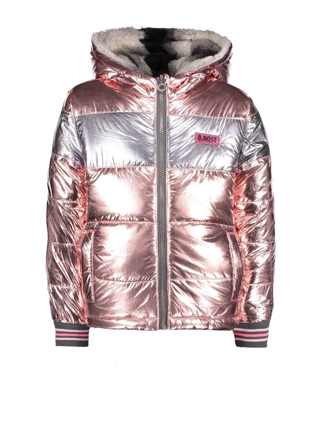 Jas Reversible met Bont en Metallic  Light Pink