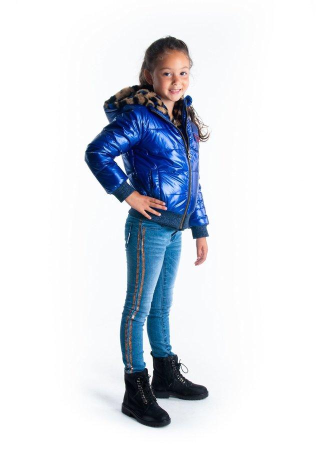 Jas Reversible met Leopard Bont en Metallic Cobalt Blue