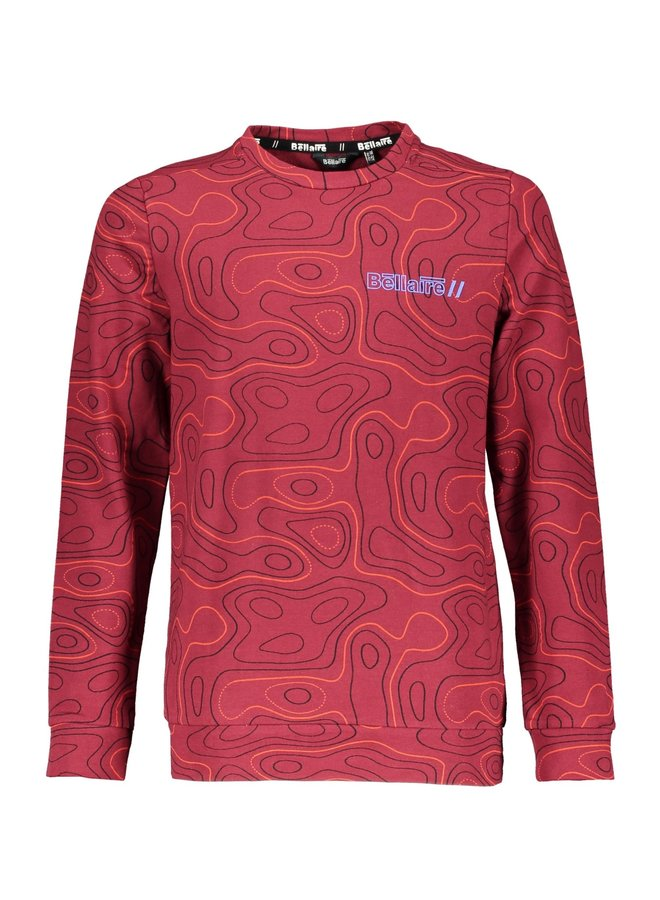 Kees Sweater Bordeaux AOP