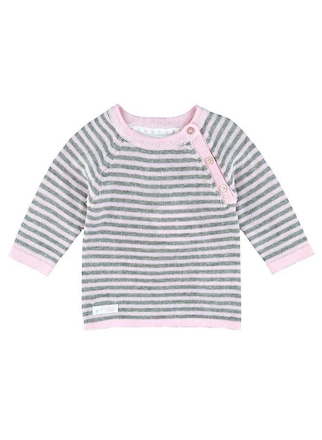 First Knit Sweater Raglan Roze Streep