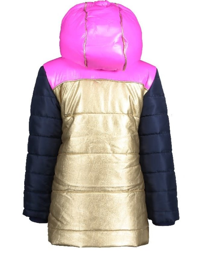 Color Block Jacket Long Gold