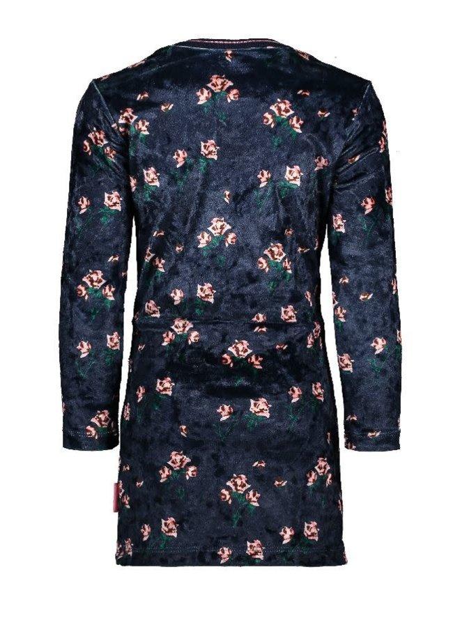 Jurk Velvet Print Flowers Marine