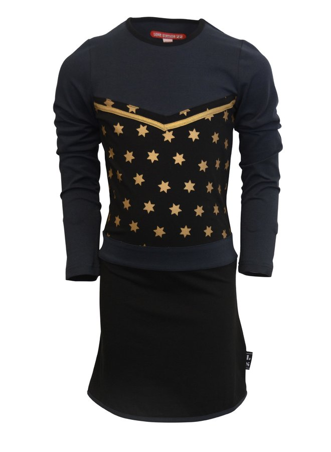 Jurk Giordina  Black/Navy/Gold