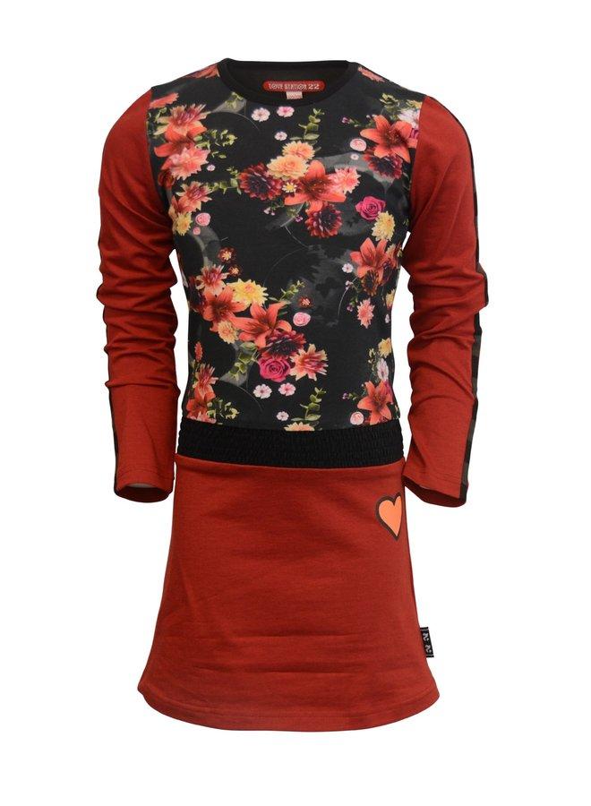 Jurk Lauri Crimson Red Flower Print