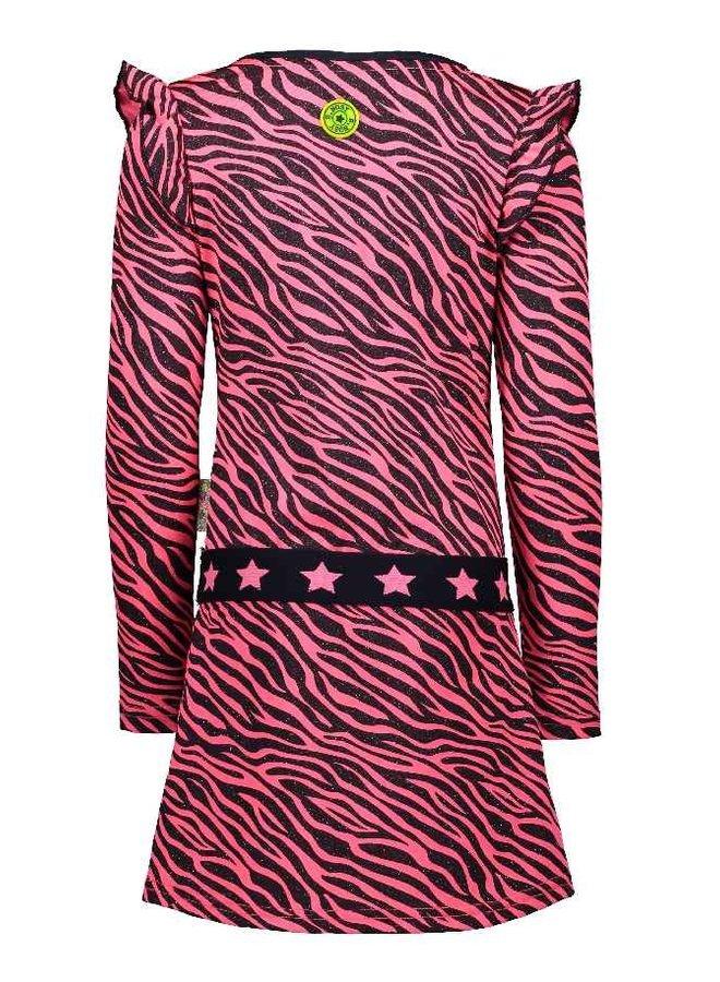 Jurk Zebra with ruffles  Pink Zebra