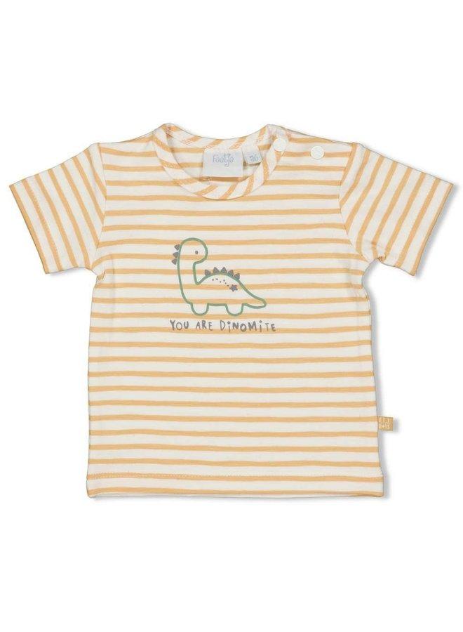 Dinomite T-shirt Streep Abrikoos
