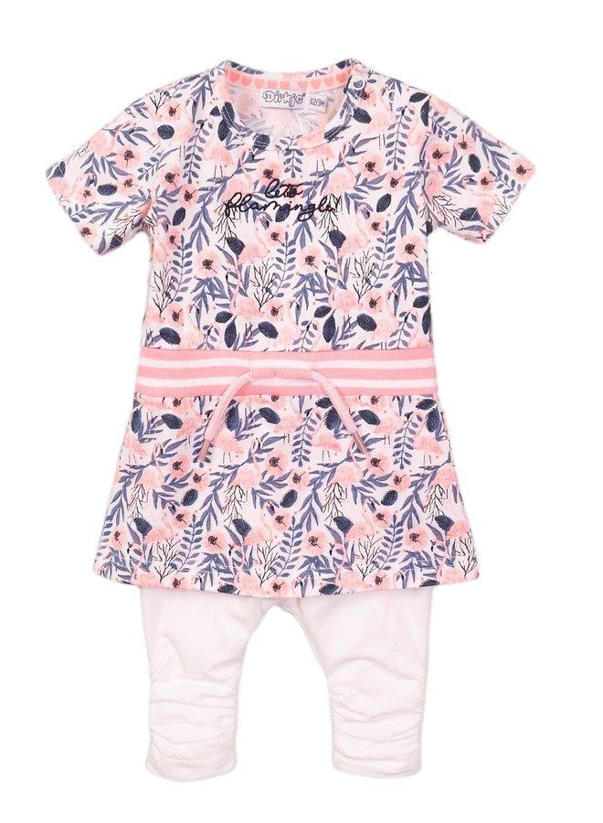 Jurk en Legging White/Pink