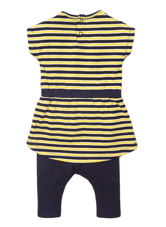 Jurk, Legging en Haarband Navy/Yellow