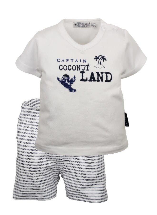 Coconut Land Shirt en Short Wit/Marine
