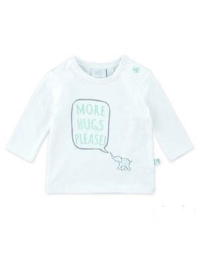 Hello Shirt More Hugs Please Wit/Grijs/Mint