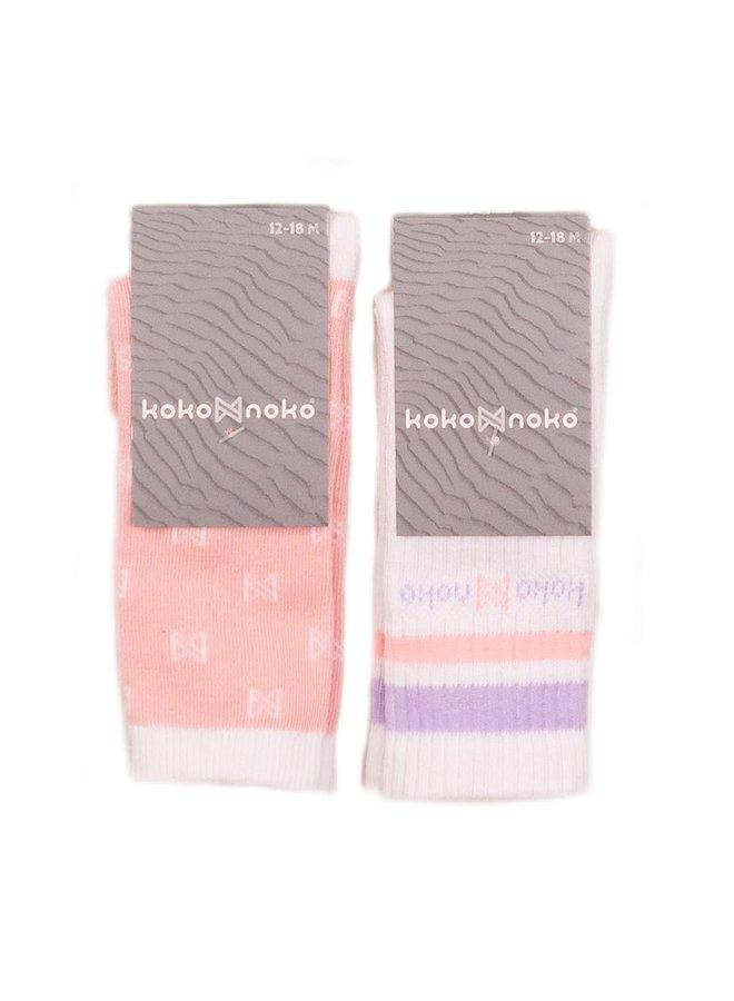 Kniekousen 2-pack Pink/White