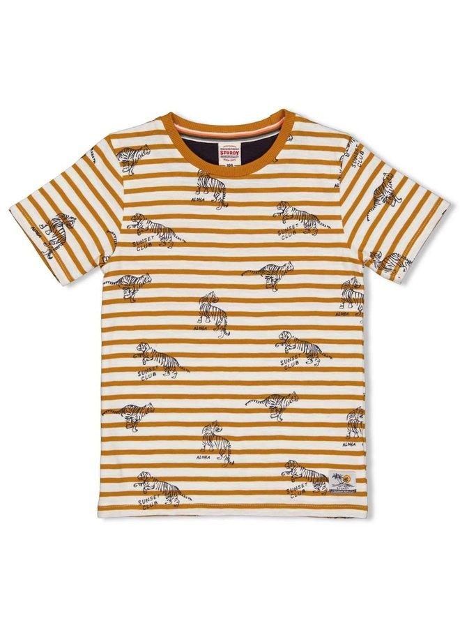 Happy Camper T-shirt Streep Okergeel