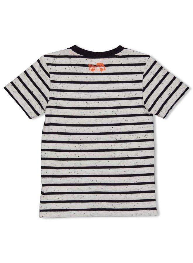 Happy Camper T-shirt Streep Antraciet