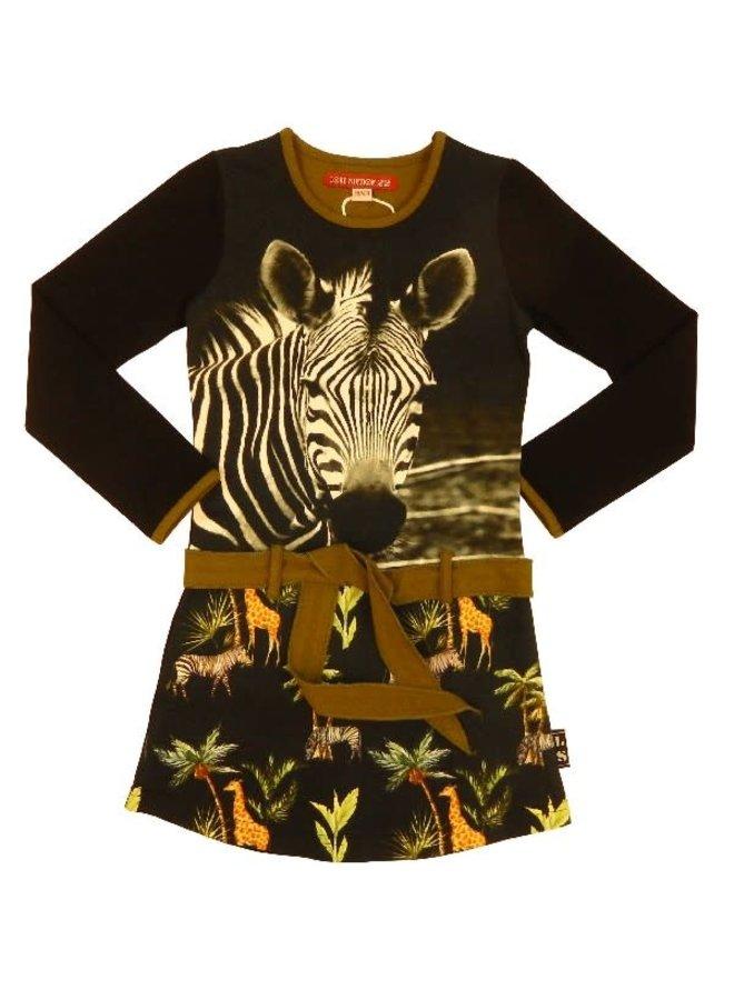 Jurk Zebra Black/Army