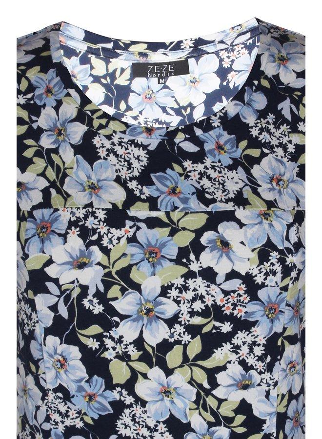 Jurk Flowers Blauw