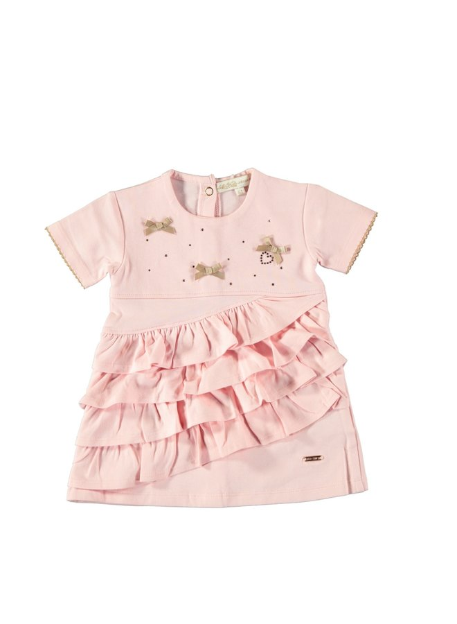 Dress Diagonal Fancy Ruffles Pretty Pink