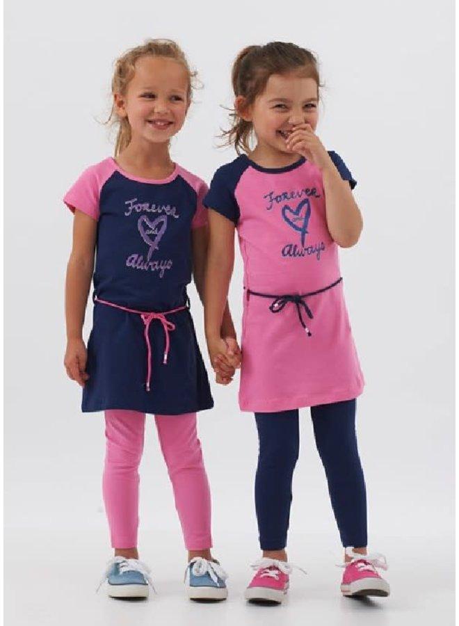 Jurk en Legging Forever Love Always Pink/Marine
