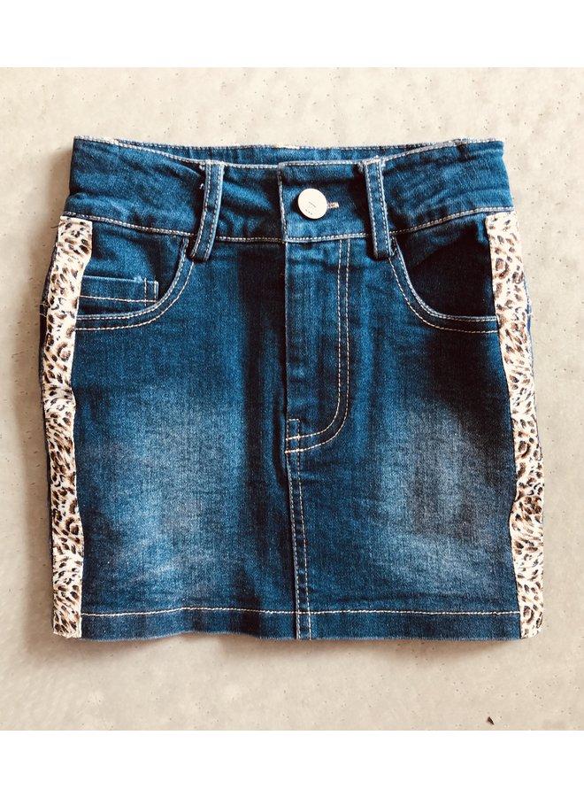 Jeans Rok met Panter Zijstreep