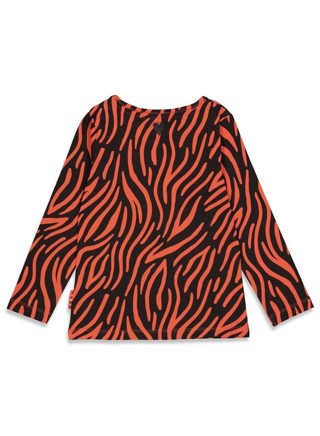 Blushing Zebra Longsleeve Print Zwart