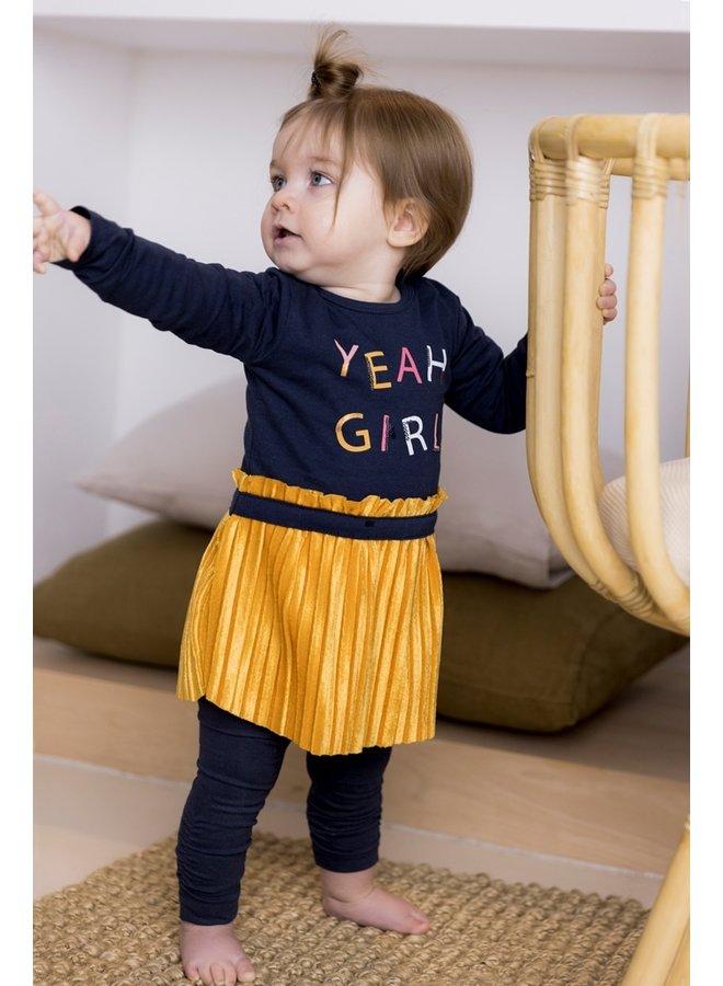 Jurk YEAH GIRL Navy/Warm Yellow